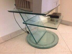 Porta TV in cristallo girevole