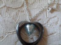 Collier Hematite Coeur Murano 1