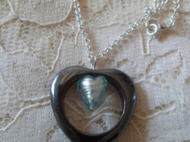 Collier Hematite Coeur Murano