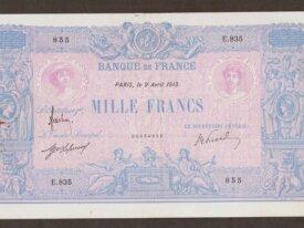 1000 Francs 1913 FRANCE - E.835 - Bleu et Rose TTB