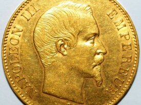 NAPOLEON III - 100 FRANCS OR TETE NUE 1855 A PARIS