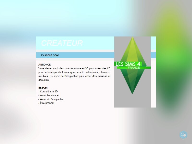 recherche escla... staff pour forum sims. 2