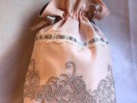 Sac, pochon, aumonière rose poudré arabesques gris 1