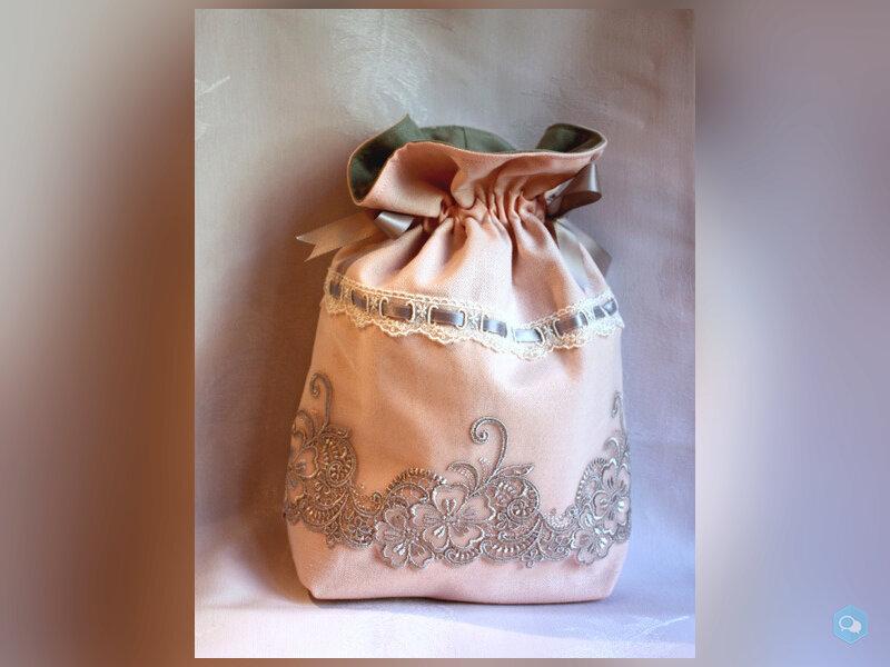 Sac, pochon, aumonière rose poudré arabesques gris 2
