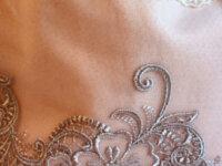 Sac, pochon, aumonière rose poudré arabesques gris 3