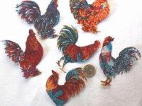 12 coqs aux plumes colorées patchs thermocollants  2