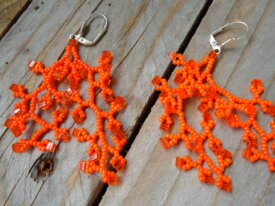 Boucles d'oreilles corail orange