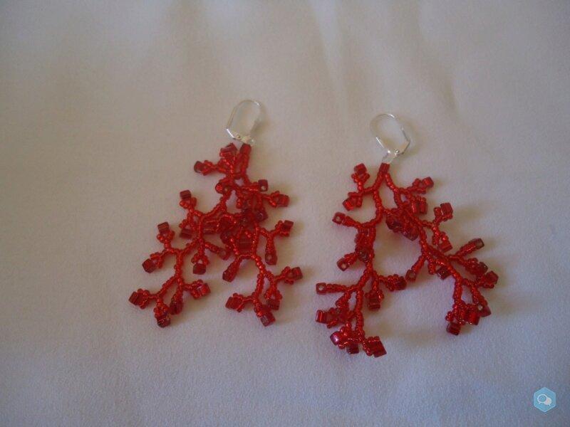 Boucles d'oreilles corail rouge 1