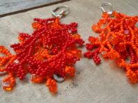Boucles d'oreilles 'corail' orange et rouge 1