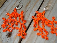 Boucles d'oreille orange corail cubes 1