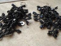 Boucles d'oreilles 'corail'noir 4 branches  1