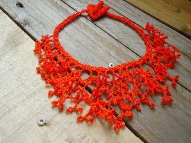 Collier corail orange vif en perles de miyuki