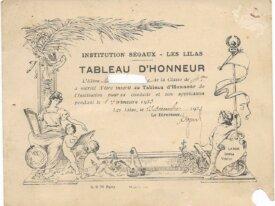 tableau d'honneur 1933