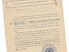 Certificat d'inscription liste électorale 1956