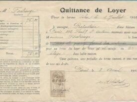 timbre fiscal 10 centimes quittance de loyer 1912