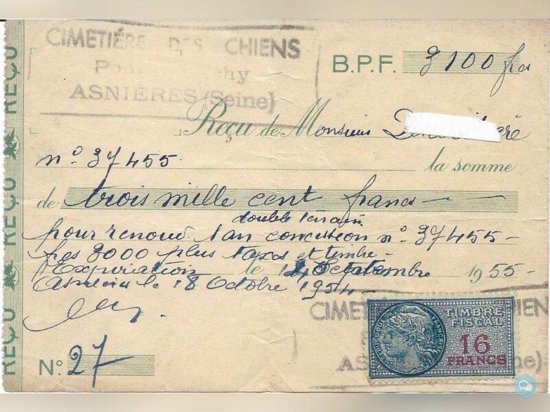 Timbre fiscal 16 francs cimetière chiens 1