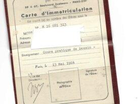 CARTE D'IMMATRICULATION de 1964