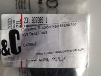 Genuine R code key blank for Brazi Bay 1