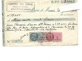 Timbre fiscal 1 et 3 francs cimetière chiens