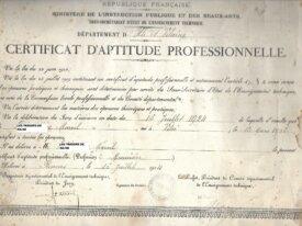 Certificat d'étude professionnelle 1924