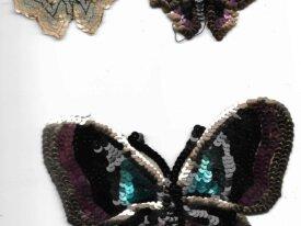 Papillons tissus paillettes 1906