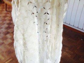 Vintage 1970 laine blanche frangée châle