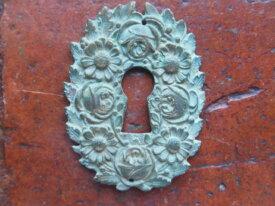 Ancienne entrée de serrure en bronze Art Nouveau