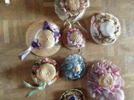 lot chapeaux de paille miniatures