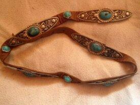 ceinture vintage 5 - cuir turquoise