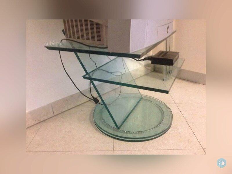 Porta TV in cristallo girevole 1