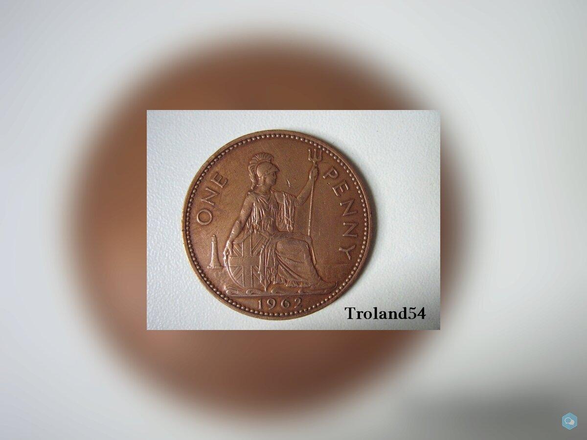 Royaume Uni, One penny 1962 1