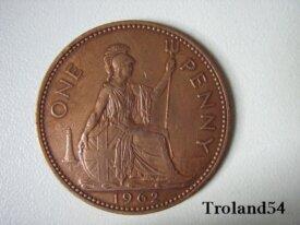 Royaume Uni, One penny 1962