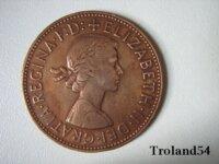 Royaume Uni, One penny 1962 2
