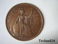 Royaume Uni, One penny 1946 1