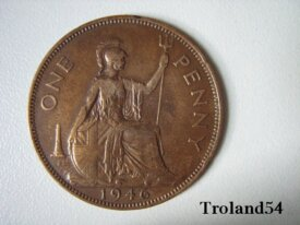 Royaume Uni, One penny 1946