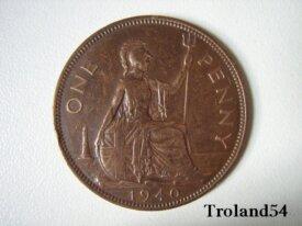 Royaume Uni, One penny 1940