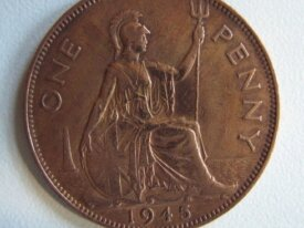 Royaume Uni One penny 1945