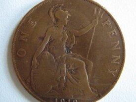 Royaume Uni One penny 1918