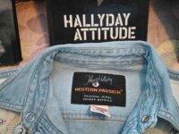 Chemise JOHNNY HALLIDAY en jean à clous et cuir  1