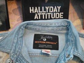 Chemise JOHNNY HALLIDAY en jean à clous et cuir