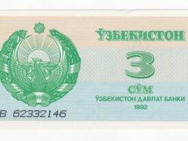 ouzbekistan billet de 3 sum année 1992 UNC
