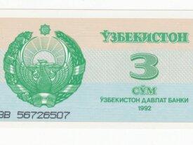 ouzbekistan billet de 3 sum année 1992 neuf-UNC
