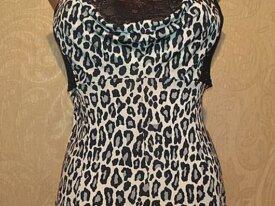 б/у Леопардовая  майка с открытой спиной 46-48р.