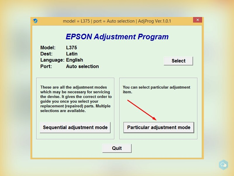 Reset Epson L375 - 475 3
