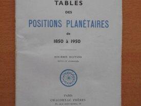 Tables des Positions Planétaires de 1850 à 1950