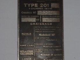 plaque constructeur 201 D