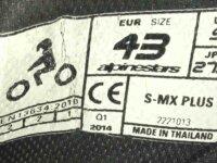 Bottes moto Alpinestars SMX Plus taille 43 5