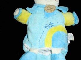 doudou marionnette chat bleu noé