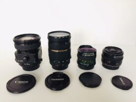 Divers Canon : tilt shift 45 2.8, fish-eye, 35 f2,