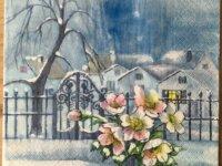 """Serviette en papier """"Paysage sous la neige&qu 1"""